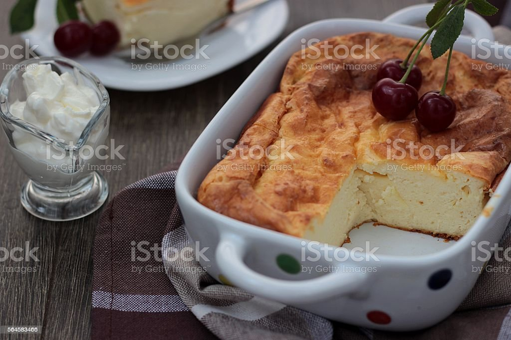 Groovy Cheesecake Cottage Cheese Pudding With Fresh Cherries On Download Free Architecture Designs Intelgarnamadebymaigaardcom