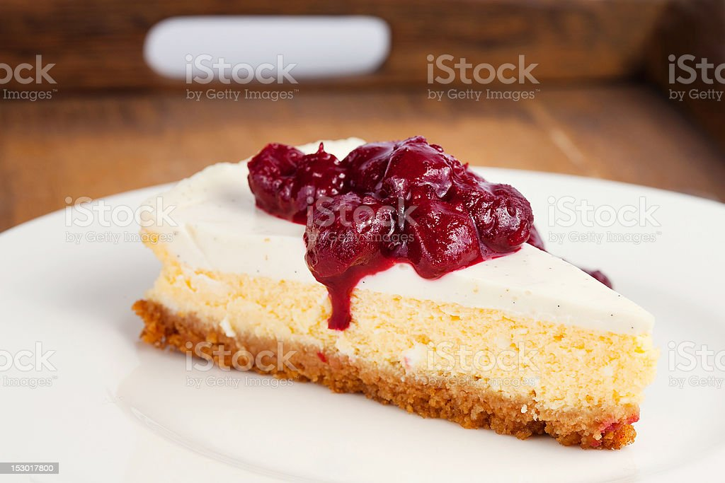 Cheesecake on wooden tray royalty-free stock photo