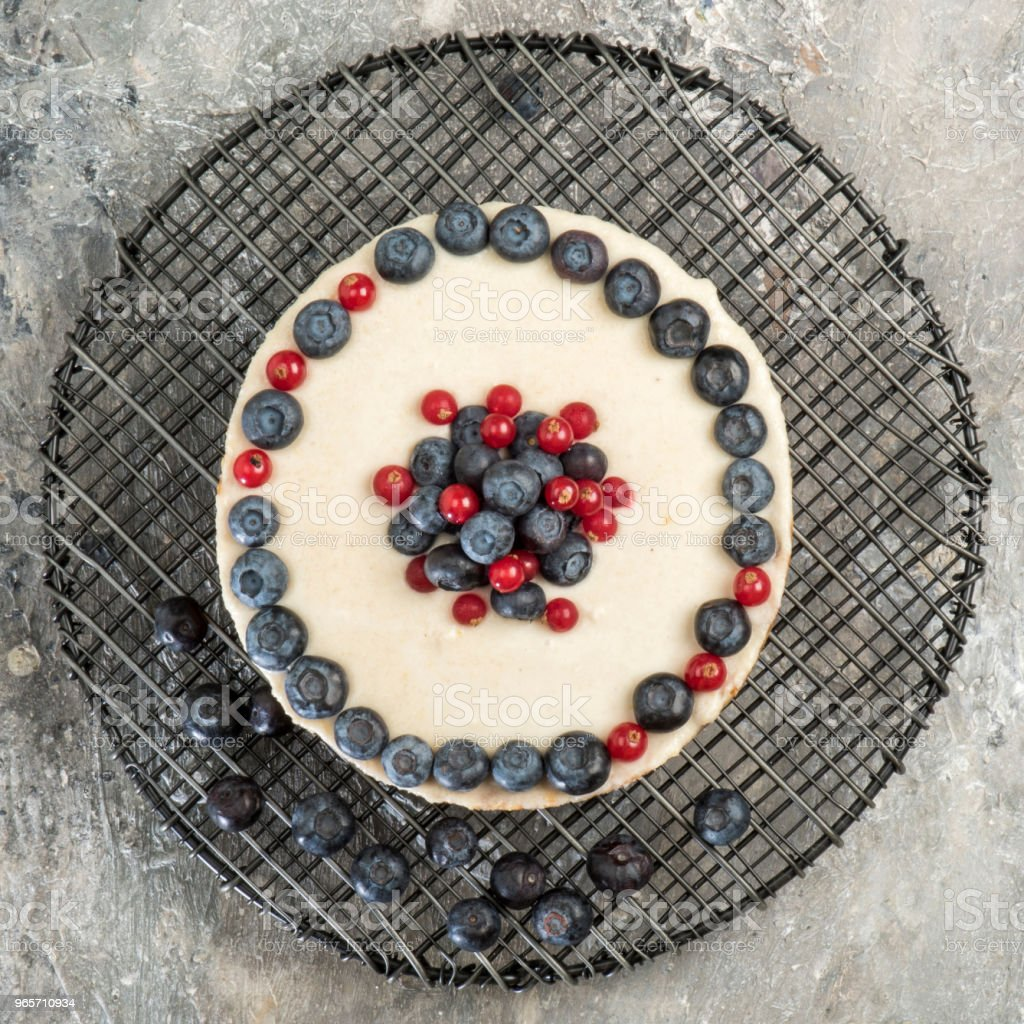 Cheesecake with berries on metal tray - Royalty-free Almond Stock Photo