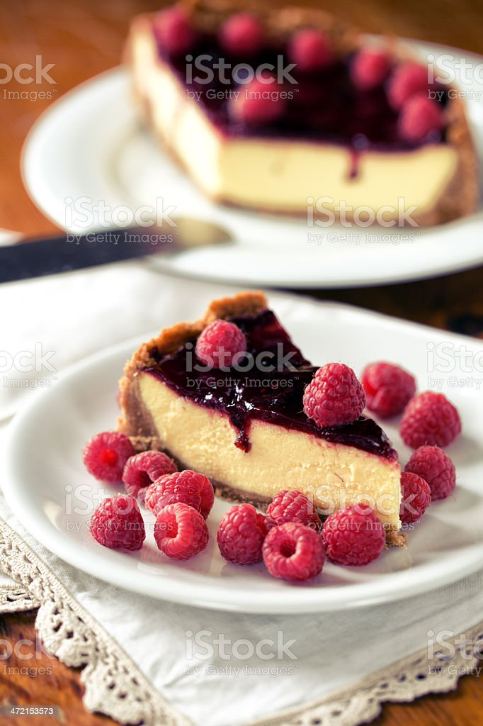 Cheesecake with berries stock photo