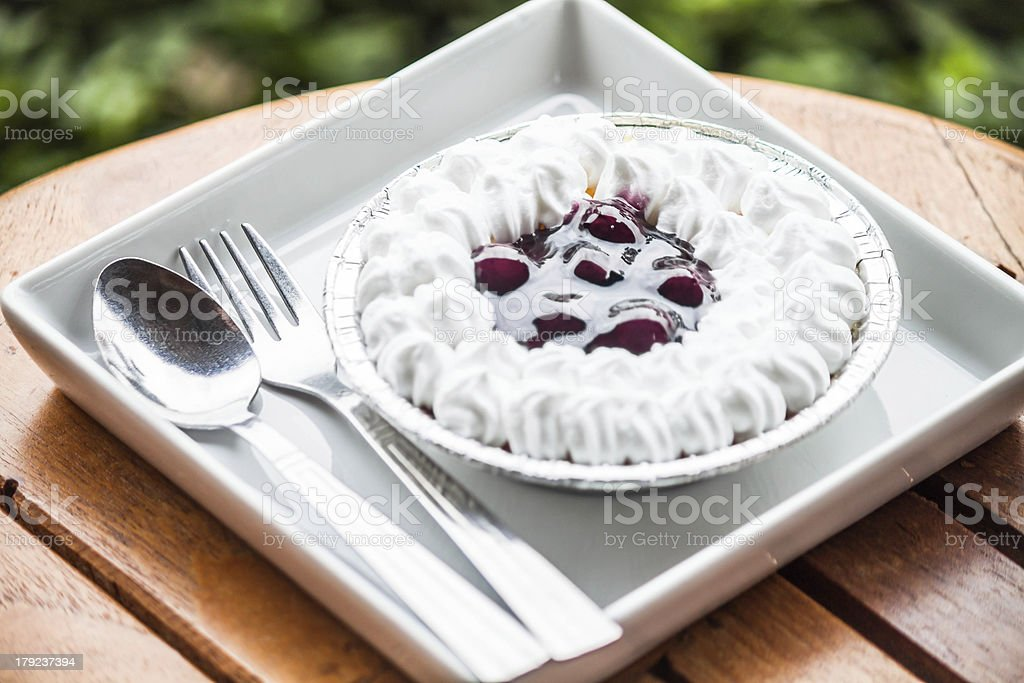Cheesecake with blueberries sauce serving on white plate royalty-free stock photo