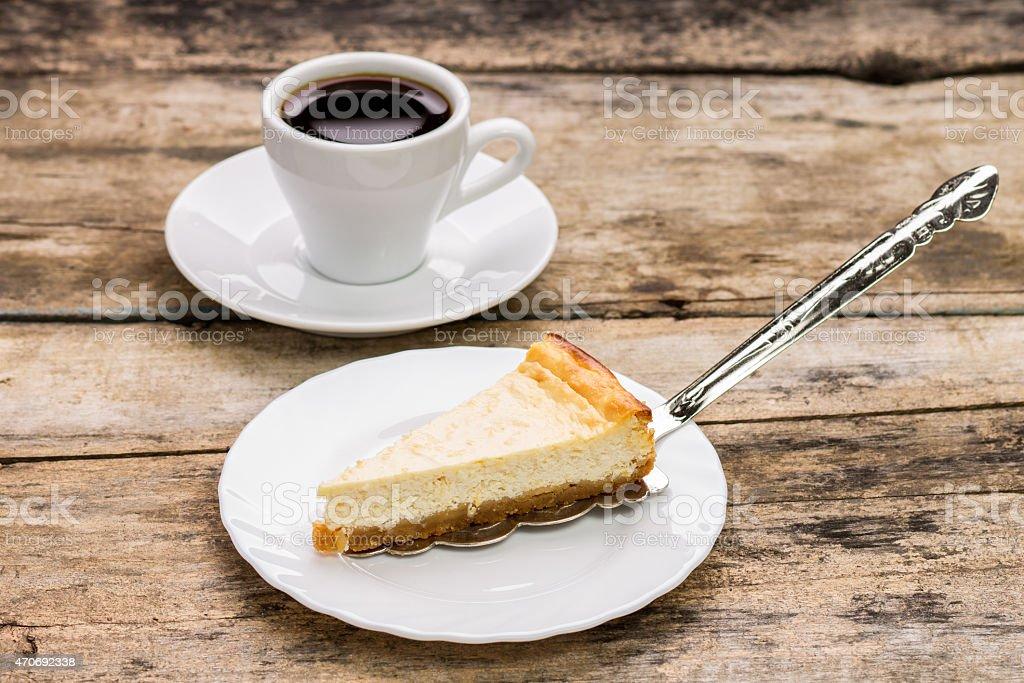 Cheesecake with cake server stock photo