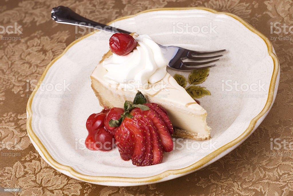 Cheesecake with Cherry Topping royalty free stockfoto