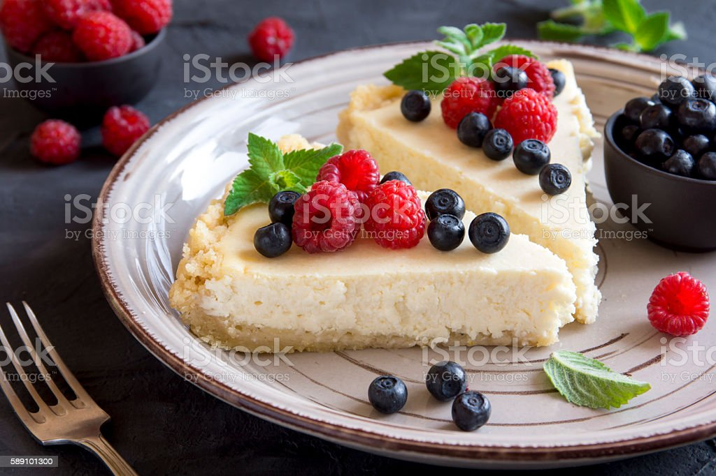 cheesecake with fresh berries stock photo