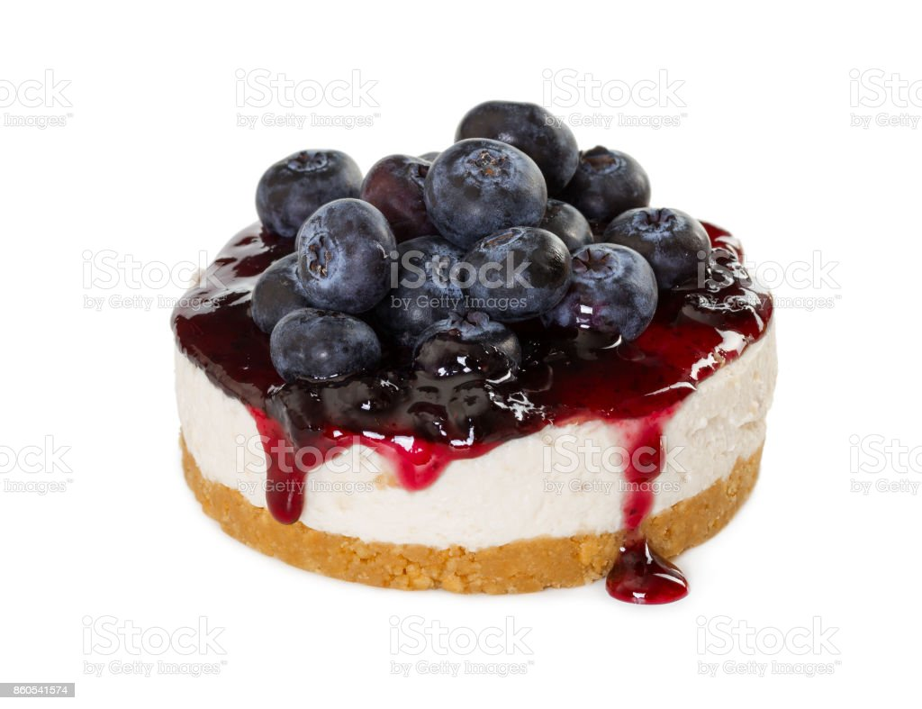 Cheesecake with fresh blueberries stock photo