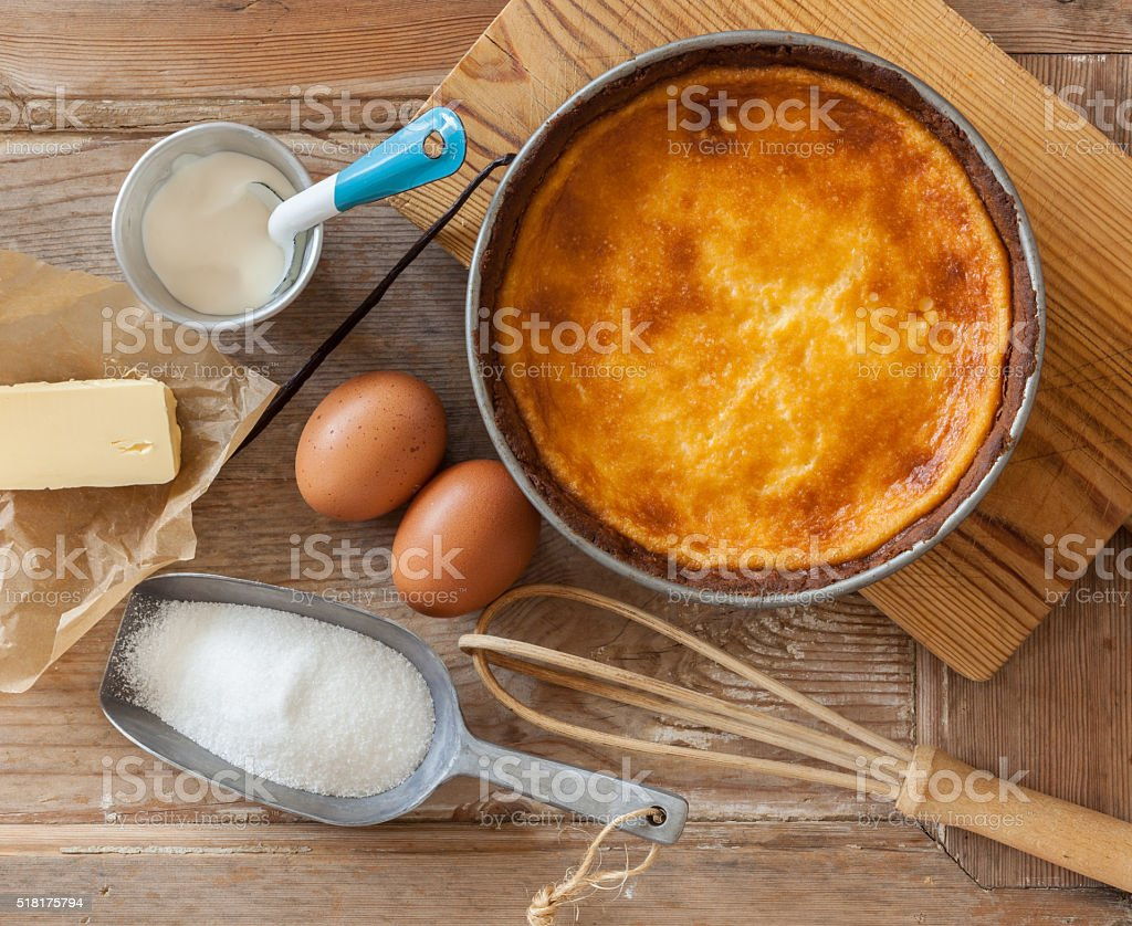 Cheesecake with ingredients stock photo