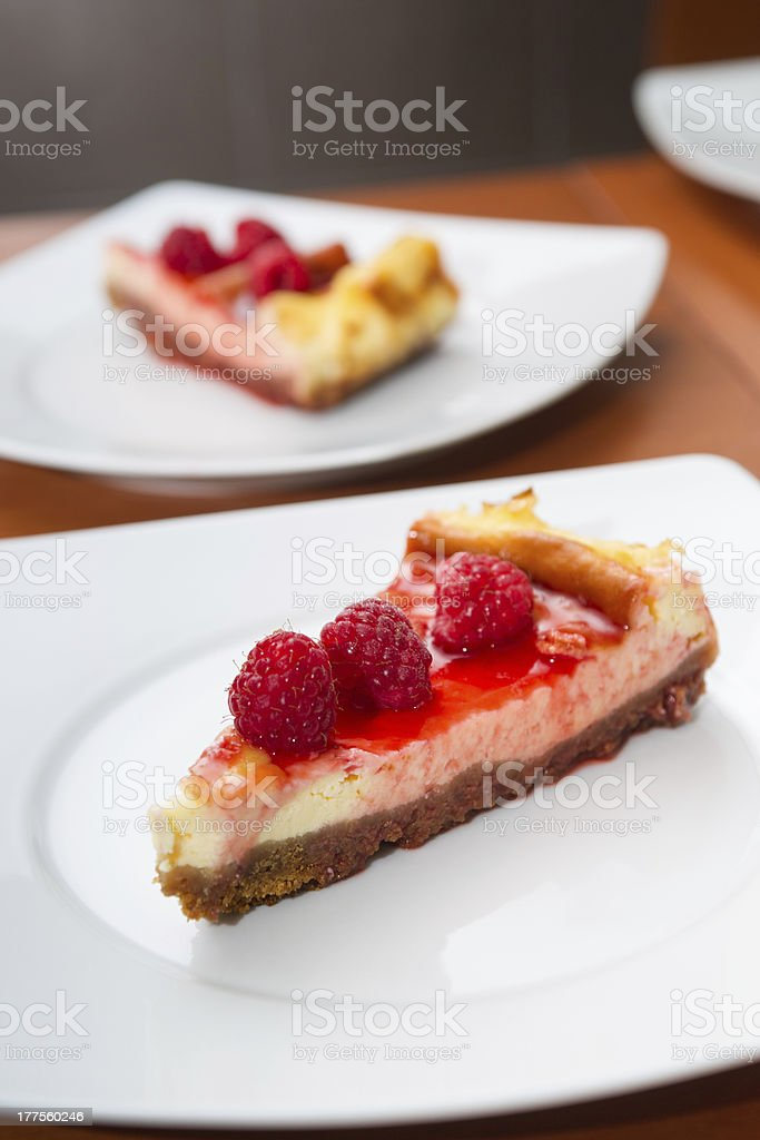 cheesecake with raspberry royalty-free stock photo