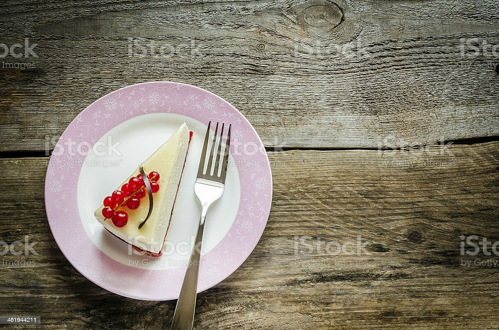Cheesecake with redcurrant stock photo