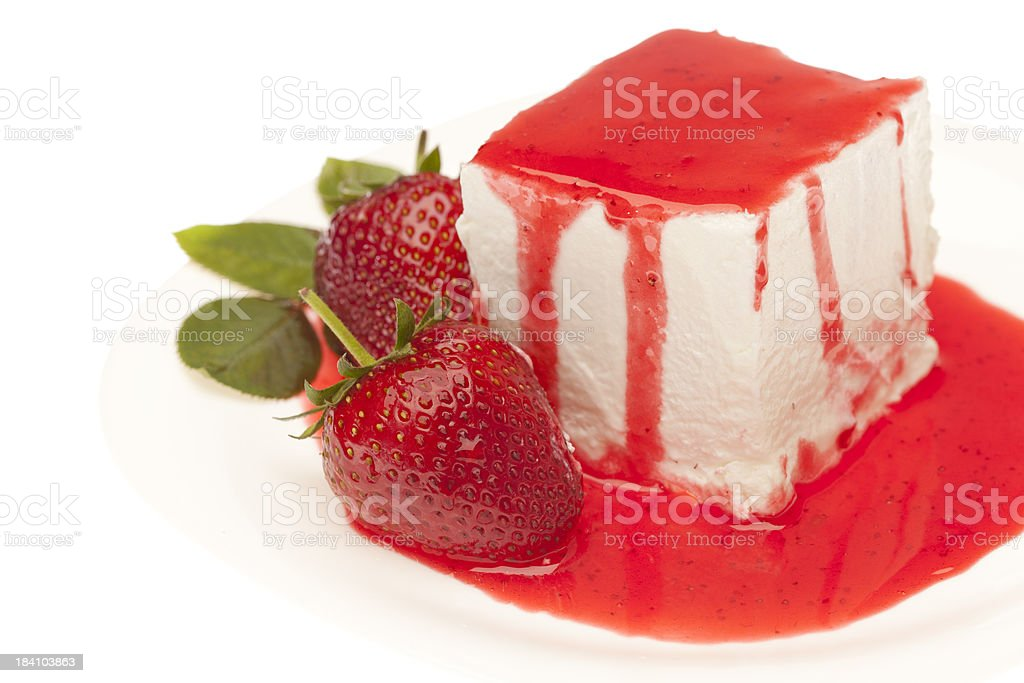 Cheesecake with strawberry topping royalty-free stock photo