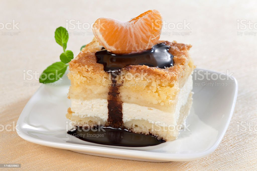 Cheesecake with tangerine royalty-free stock photo