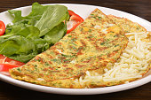Cheesed Omelette With Lettuce And Red Pepper