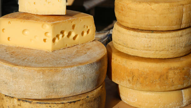 cheeses and aged cheeses on sale in the food market - emmentaler foto e immagini stock