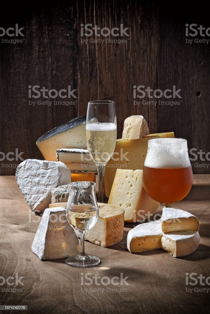 Cheeses and beverage 2 stock photo