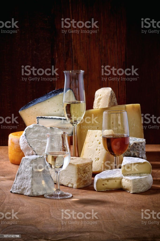 Cheeses and beverages 1 stock photo