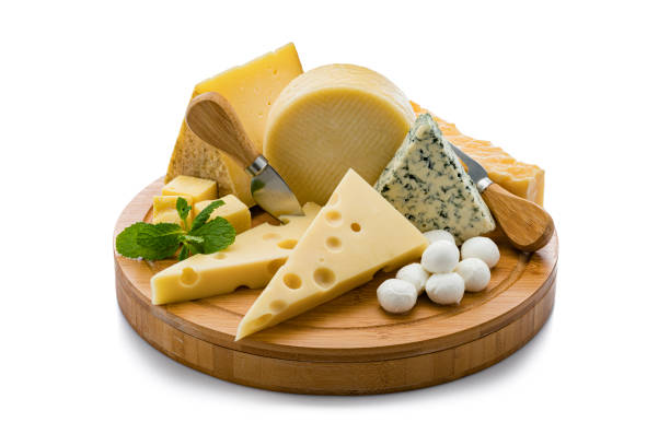 cheeses board isolated on white background - emmentaler foto e immagini stock