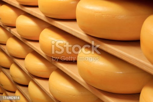 cheeses on the shelves at a dairy farm in The Netherlands