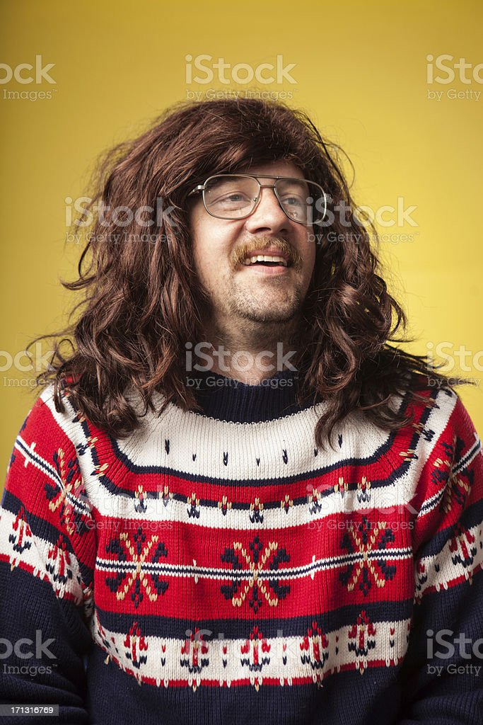 Cheesy 1980s Long Hair and Sweater Guy with Glasses Nerd stock photo