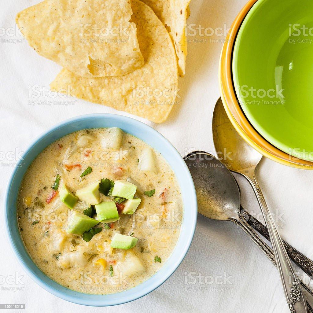 Cheesy Chili Corn Chowder royalty-free stock photo