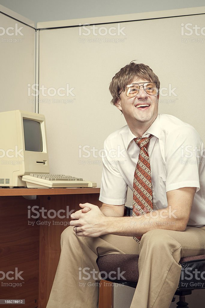 Cheesy Eighties Computer Tech Nerd stock photo
