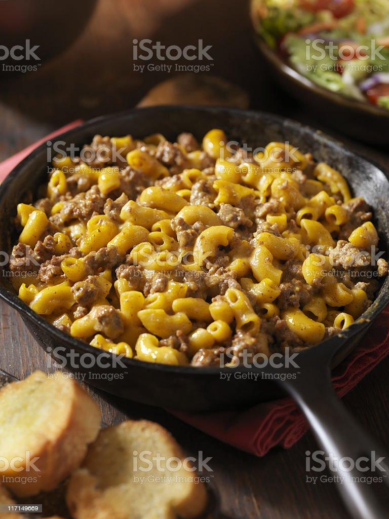 Cheesy Hamburger and Macaroni Dinner stock photo