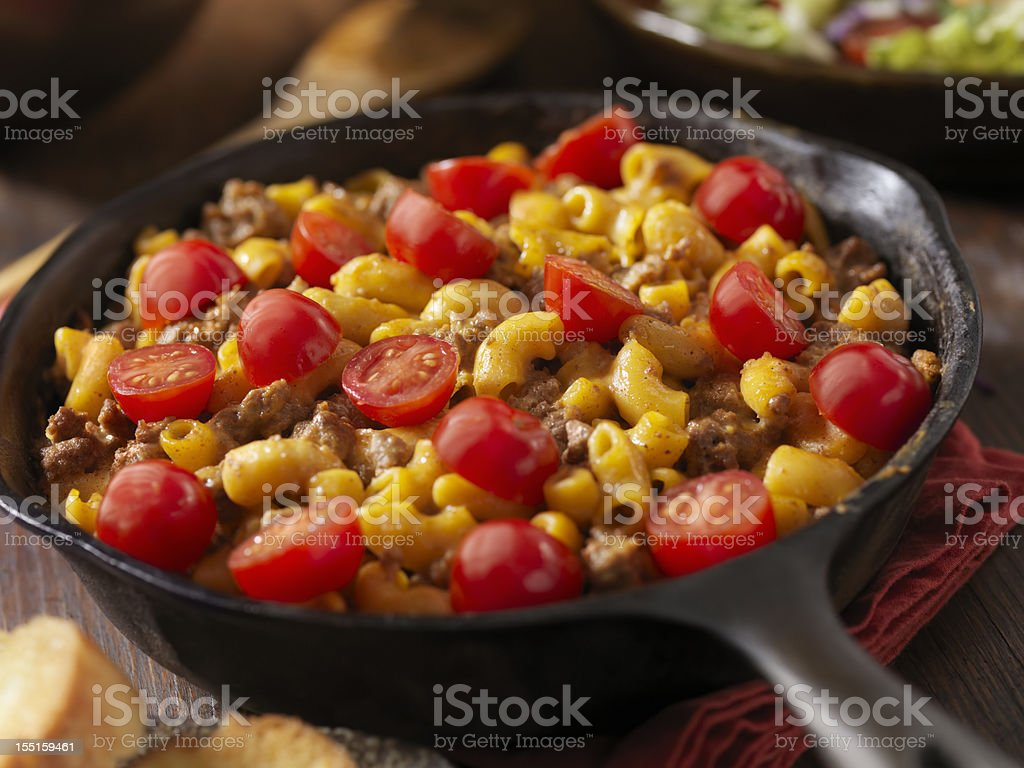Cheesy Hamburger and Macaroni Dinner royalty-free stock photo