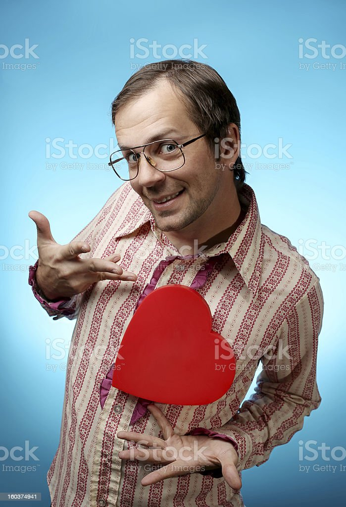 Cheesy Nerd with Large Red Heart royalty-free stock photo