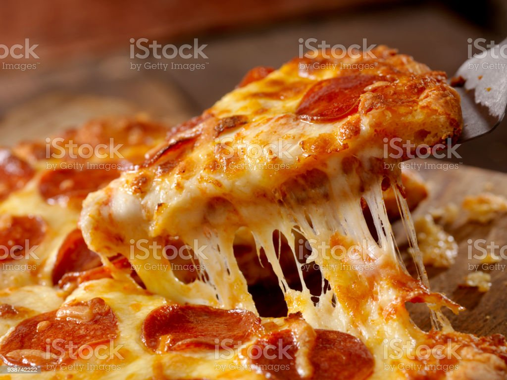 Cheesy Pepperoni Pizza stock photo