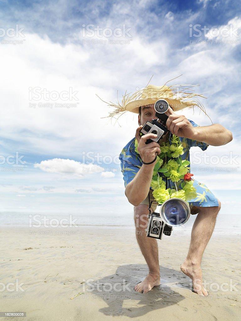 Cheesy tourist stock photo
