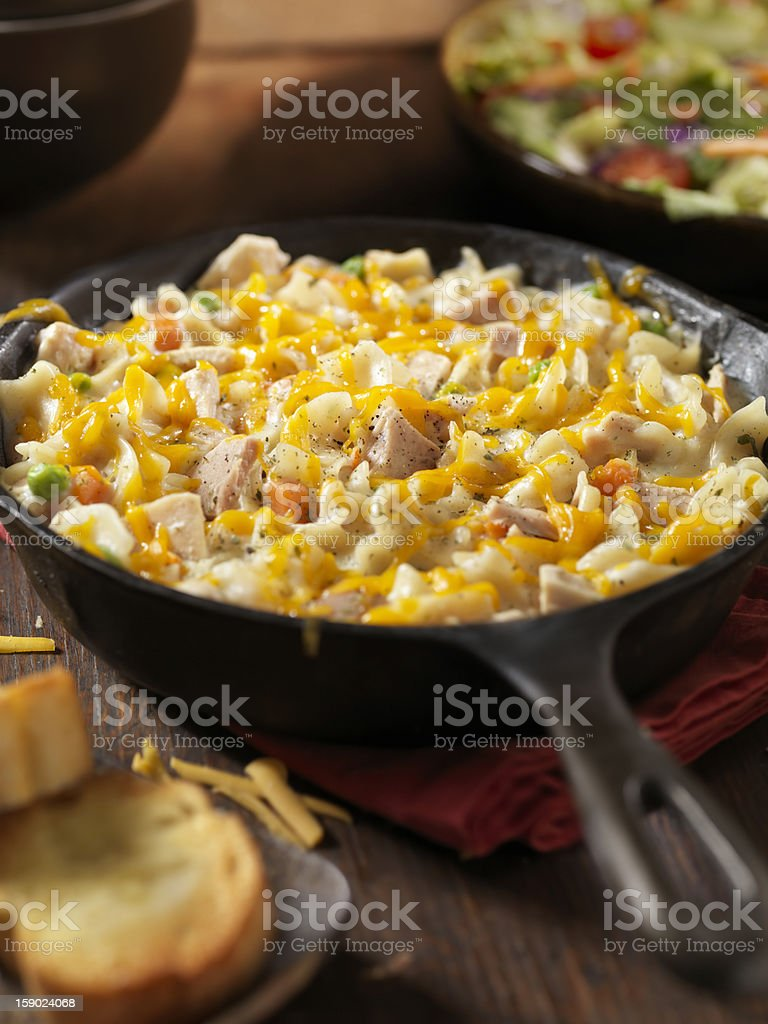 Cheesy Tuna and Pasta Dinner stock photo