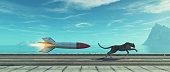 Cheetah running on highway with a rocket . This is a 3d render illustration .