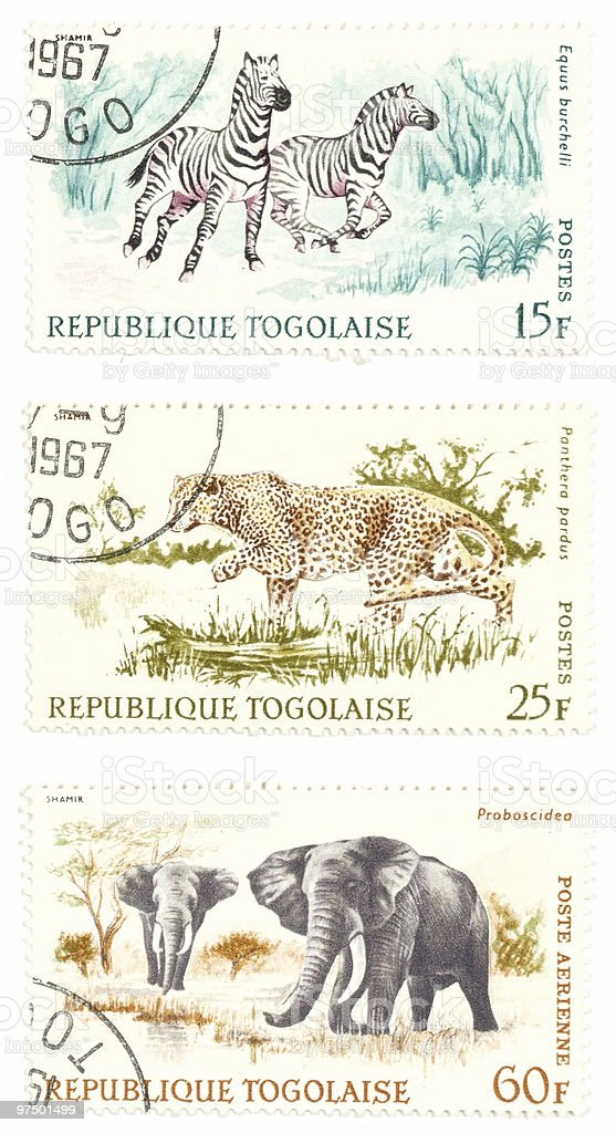 Cheetah, zebras, elephants post stamps royalty-free stock photo