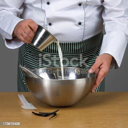 istock Chef adding milk 173615406