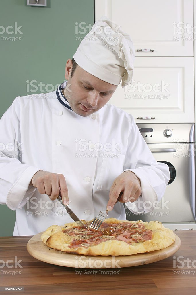 Chef and pizza royalty-free stock photo
