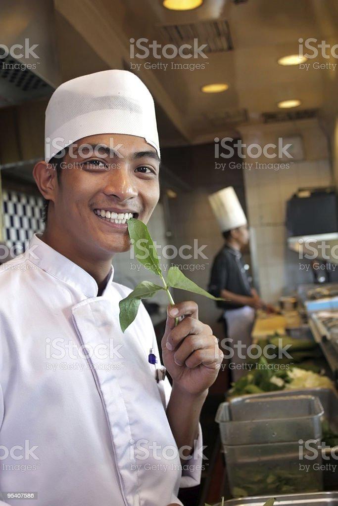 chef und Gemüse Lizenzfreies stock-foto