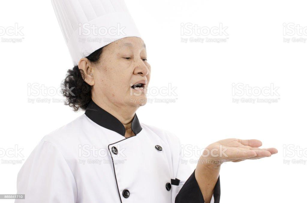 Fond Libre Asiatique Sur Femme Droit Photo De Chef Senior Blanc K1JFc3Tl