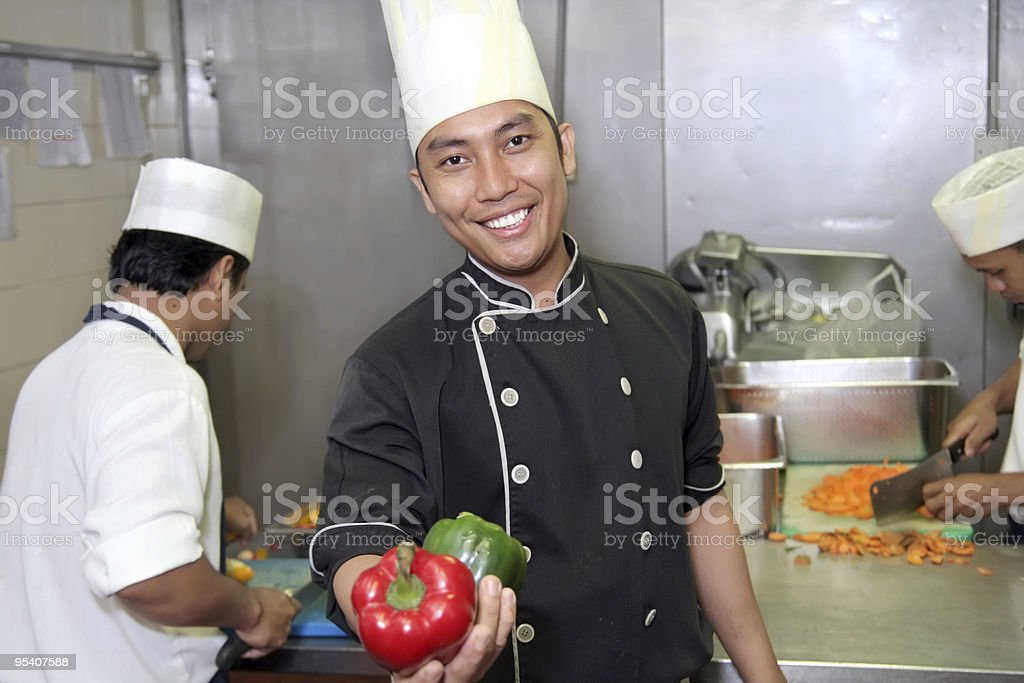 chef at work showing capsicum royalty-free stock photo