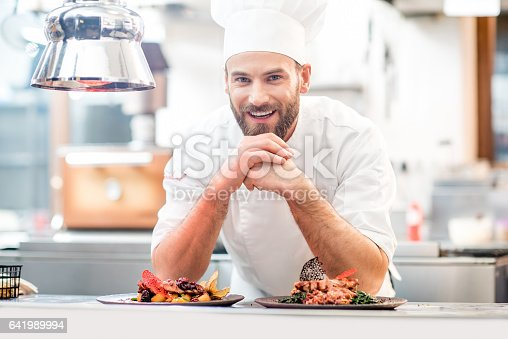 Portrait of chef cook in uniform with prepaired delicious dish at the restaurant kitchen