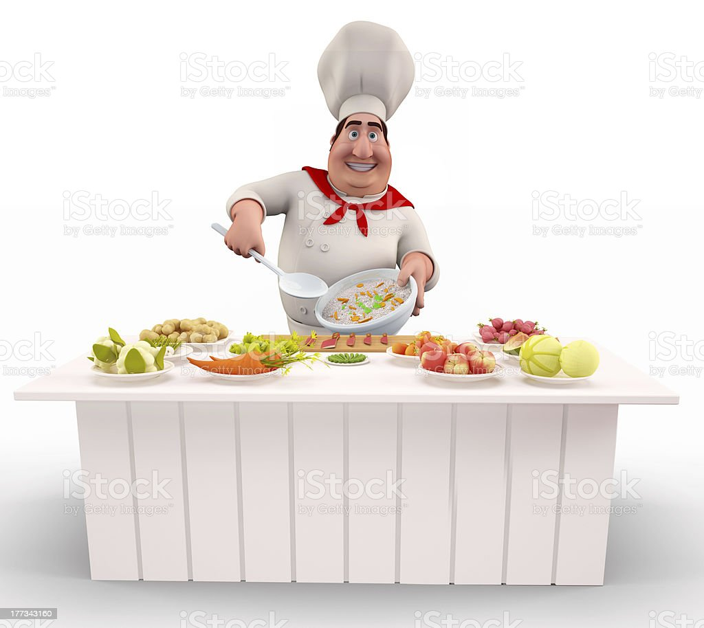 Chef cooking rice with vegetables royalty-free stock photo