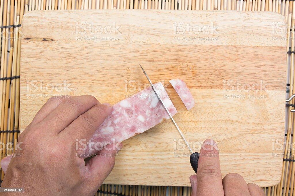 chef cutting bacon for cooking fired rice royaltyfri bildbanksbilder
