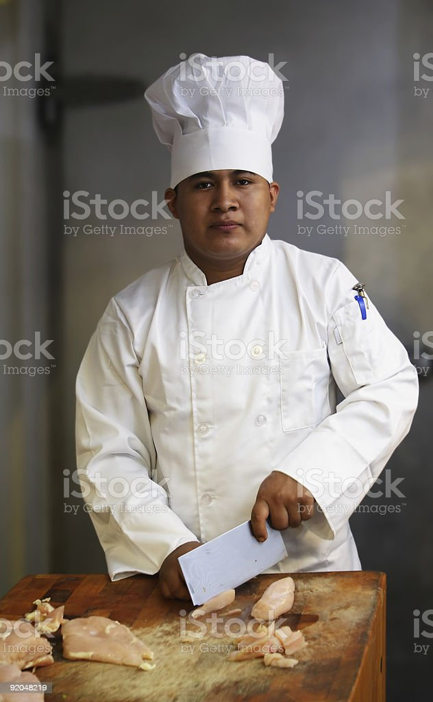 Chef Cutting Meat 2 royalty-free stock photo