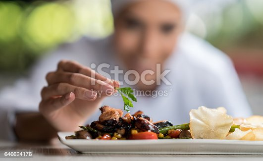 Close-up on a chef decorating a plate with focus on the food - restaurant concepts