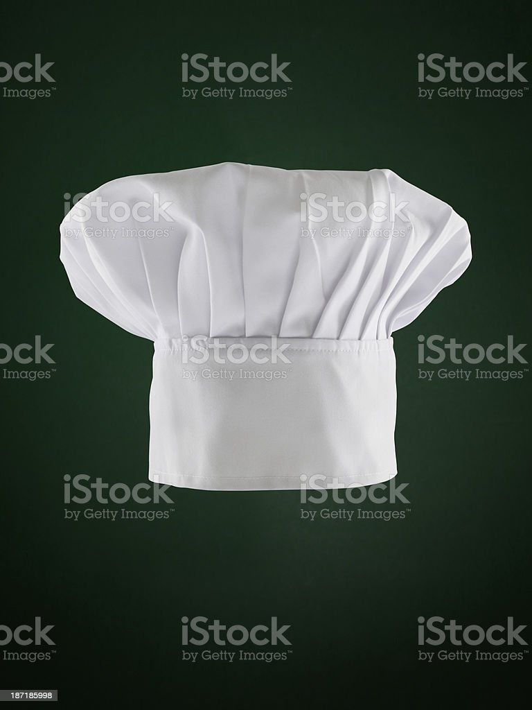 Chef Hat On Green Background (Clipping Path) stock photo