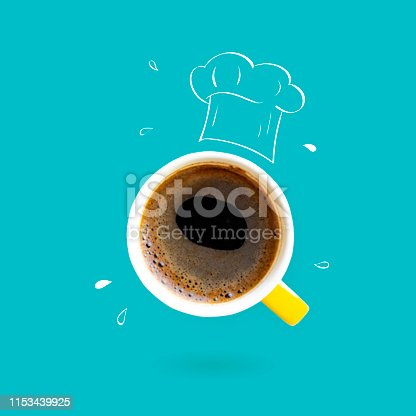 istock Chef hat with coffee cup concept 1153439925