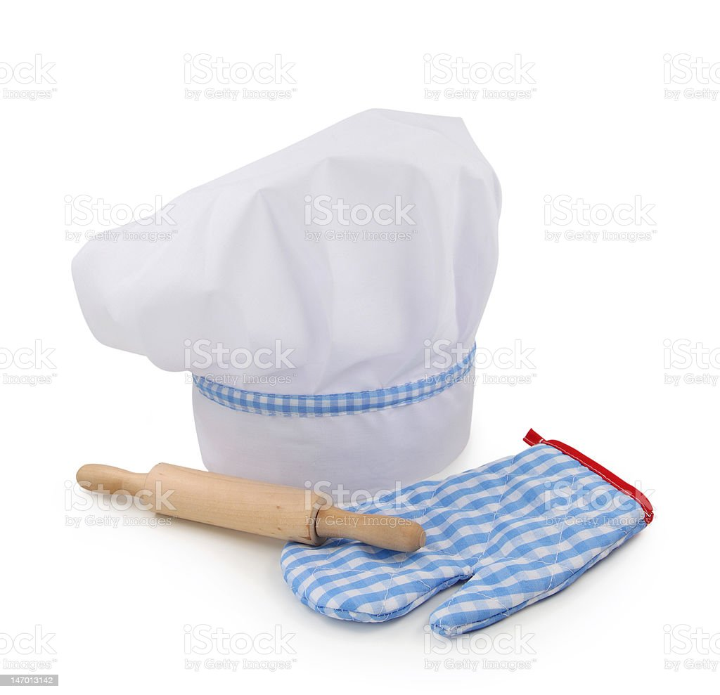 Chef hat,rolling pin and glove stock photo