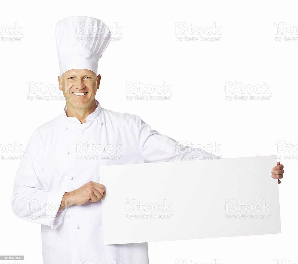 Chef Holding a Blank Sign - Isolated royalty-free stock photo
