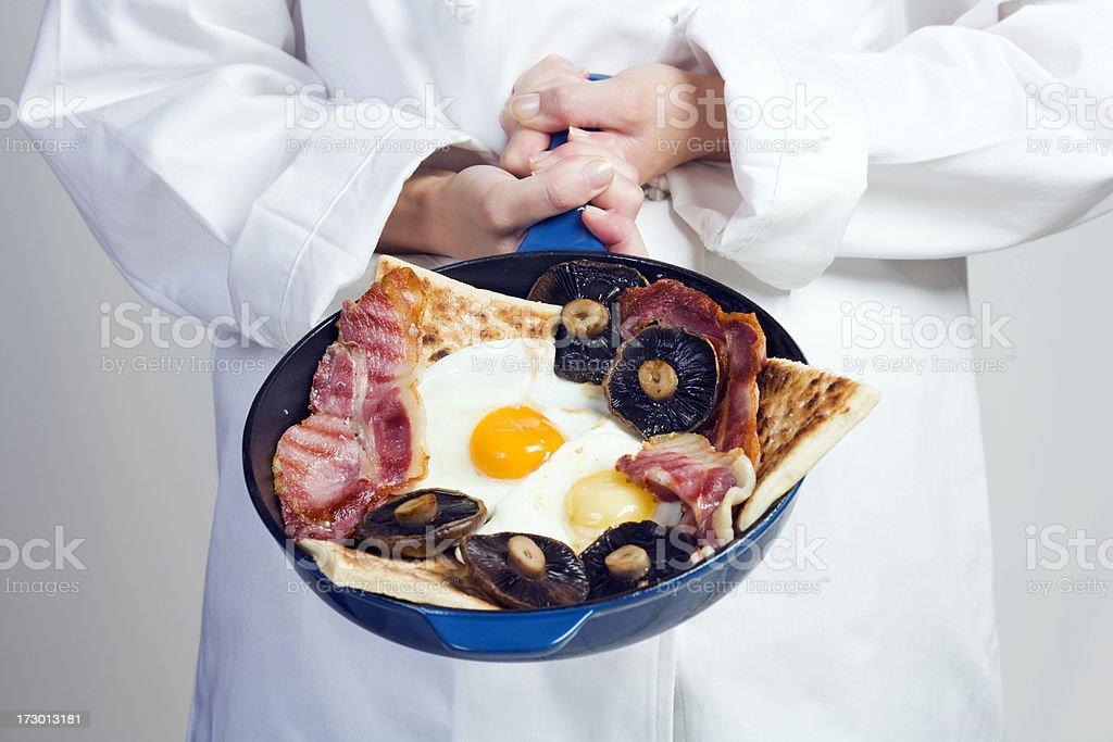 Chef holding a traditional Irish breakfast stock photo