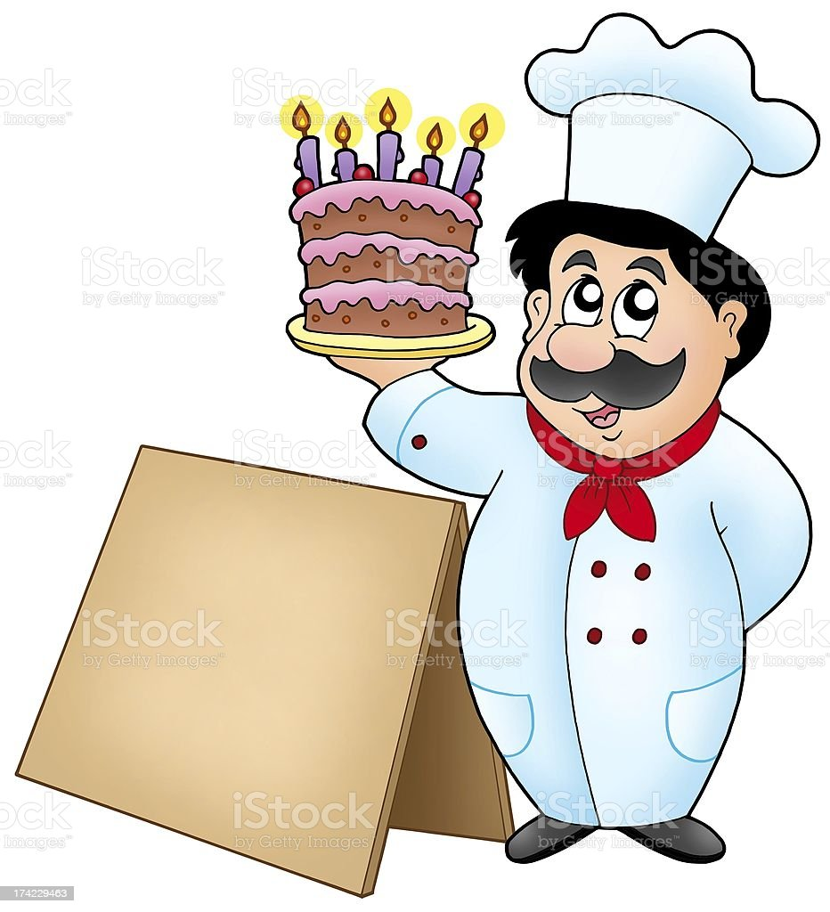 Chef holding cake with wooden table royalty-free stock photo
