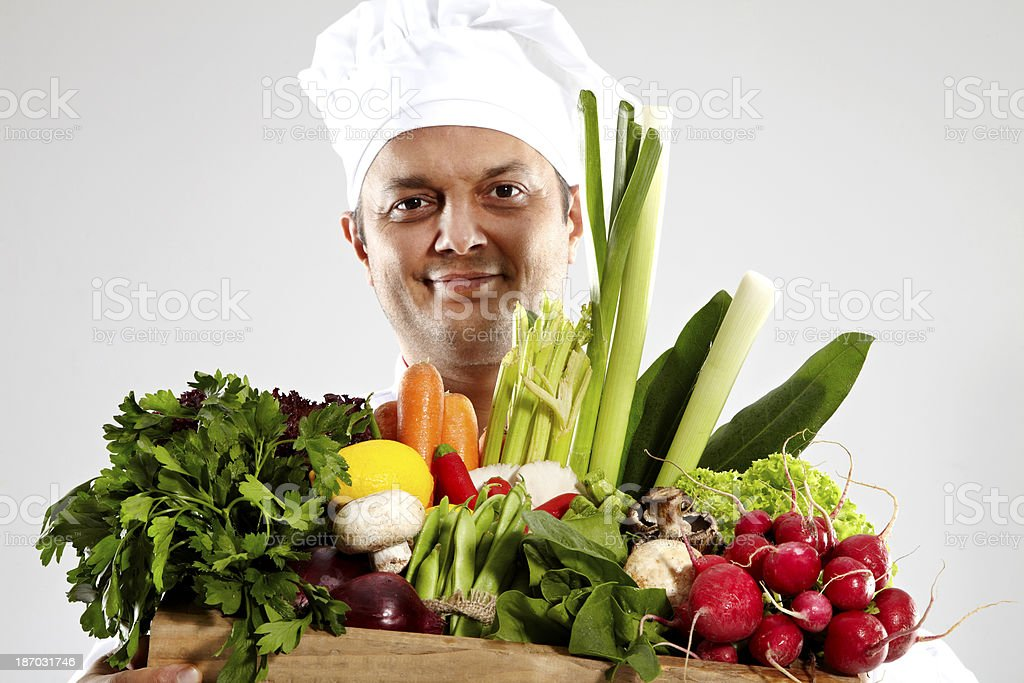 Male chef vegetable box.