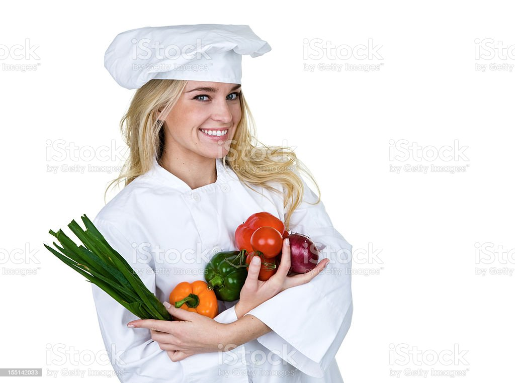 Chef holding vegetables stock photo