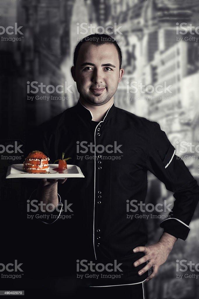 Chef in black uniform stock photo